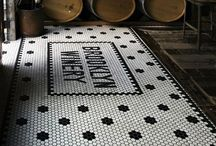 Tiled floor entrance restaurant
