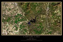 GEORGIA FROM SPACE / TerraPrints.com satellite imagery of Georgia's cities and lakes
