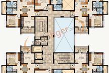 4 Daireli Apartman Planları