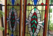 Antique English Leaded Stained Glass Windows