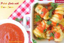 """Potato Curls with Bravo Sauce with Tescoma / Thanks to the Tescoma tool to make potato curls now it is so easy to create healthy and fun snacks. This Potato Curls with Bravo Sauce are inspired in the traditional Spanish """"patatas bravas"""" in a vegan and fat-free version. Delicious!"""
