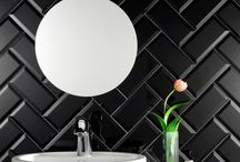 Black Metro Tiles / Black metro tiles perfect for black kitchen tiles or for black tiled bathrooms. Choose between matt and gloss black tiles. If you prefer flat tiles as opposed to bevelled tiles please choose from the black brick tiles below.