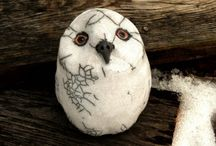 racu pottery white owl rattle snowy owl sculpture clay bird black and white