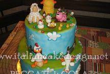 Torta fattoria con animaletti stile cartoon sponge cake con camy cream alla nutella