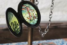 """Hand Painted Velveteen Rabbit Locket With Fairy Painted Gift Box / This reversible vintage style metal locket is full of lovely details! The front and back of the necklace flaunt intricate flower carvings but the real MAGIC happens when you open the locket!!! I hand painted The Velveteen Rabbit on the inside of the locket. On the main picture side of the locket is The Velveteen Rabbit and on the opposite side is a little tree.  It also comes with a gift box that I hand painted with the fairy from the story that turns The Velveteen Rabbit to """"real!"""" / by Painted Fancy"""