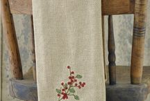 Pattern: Burlap & Berries / Decorate your kitchen with country holiday style! Our popular soft cotton burlap collection is has been updated with embroidered berries and holly, so striking for the holidays! / by Piper Classics
