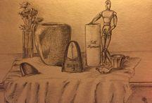 Natures mortes / still life drawings / Natures mortes, au crayon, au pastel, et beaucoup d'autres encore !