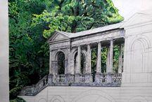 old marble bridge / A1 format watercolor pencils , black gel pen , graphite pencils, duration of 4 to 5 months .