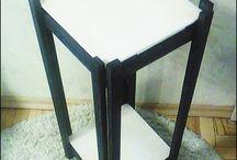 Mahagony and white bedside table