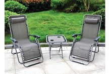 Modern Set Outdoor Garden 3 Piece Furniture Lounger Chairs Folding Table Desk