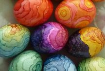 Пасха крашенные яйца