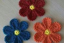 crocheted flowers / leaves