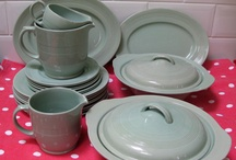 Woods ware china / This china was found in schools, churches and homes after the 2nd world war lovely Basic every day china. In several colours.