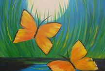 Acrylic paintings of things that fly / Butterflies and more.
