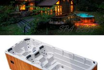 Swim spa and wooden deck