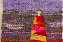 Tapiz artístico / lana, telas, colores, bordado