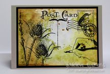 Postcard / Art made with the Art Journey rubberstamp sheet Postcard