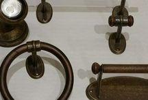 accesorios de baño rústicos, envejecidos, acabado oro viejo