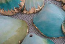 Seashell, stones, glass