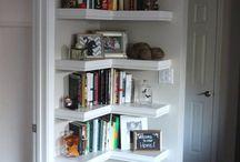 Shelves in a corner