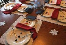 Bon homme  de neige  pour décorer  la table  de Noël  facilement