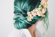 Green hair style