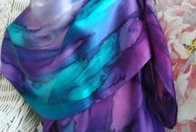 Scarf, Silk, Women, Hand Dyed, Hand Painted mariankine-satky