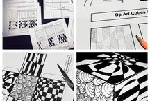 Zentangle / Kleine zwart wit tekeningen van 9 x 9 cm