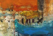 Tatha Gallery Exhibition - 'Unburdened Realities' - January 2016 / Christopher Wood's physical, expressionist paintings reflect the coastal environs around Dunbar where he lives.  Heavily textured and vibrant compositions using specifically natural materials drives him to look beyond the surface but into the depths and edges of space en-capturing the forces of the natural world. Self confident and bold rhythms, torn edges and delicate marks tempt us to look inward at our own internal energies; a clever transference of nature onto man.
