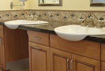 Accessible Bathroom Counters & Cabinets / Great counter & cabinet ideas for the accessible bathroom... great for aging in place. We're on a mission to discover some genius accessible storage ideas!