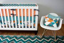 Nursery Themes // Turquoise and Orange Nursery / Modern geometric baby boy nursery in turquoise and orange!