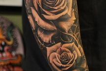 Rose sleeve tattoos