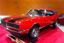 1968 Camaro SS / Check out this beautifully restored 1968 Camaro SS with red base color and black SS racing stripes.