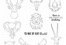Sketchy Menagerie Stamp Set
