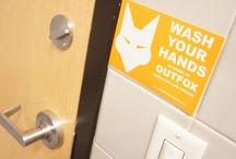 The OUTFOX Set / The OUTFOX Set features health posters, hand washing signs, infection control reminders and other features of the FOX to help remind us about hygiene.  Let us know if you have some interesting posters, pictures or other items to share that will help OUTFOX germs to avoid illness and disease.
