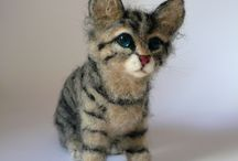 Needle felted Cat miniatures / Needle felted custom made cat miniatures from photos