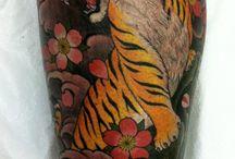 Tiger leg tattoos