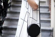 Black and white dress - cute bag