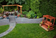 garden design - paths and seating/fire pits / Ideas for steps based on current curved walls