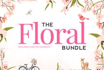 The Floral Bundle - April 2015 / Our April Floral Bundle is finally here!! Get over 1900 floral illustrations, 17 fonts and 100 hand drawn logos for just $29  http://www.thehungryjpeg.com/floral-super-bundle