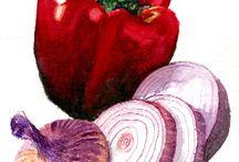 Овощи акварелью