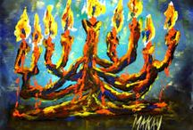 Hanukkah and Christmas Inspired Artwork at I Paint Today / I Paint Today Artwork for painting parties and private events. www.ipainttoday.com/calendar