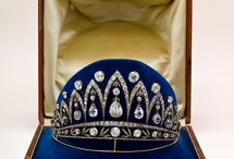 "Tiara - Faberge's Josephine / Only 5.2"" wide, this Fabergé tiara is known as the Empress Josephine Tiara, but as it was made by Fabergé's workmaster August Holmström in 1890 and the Empress died in 1814, it was certainly never hers.  However, the briolette-cut (i.e. drop-shaped) diamonds in the tiara *did* belong to her - they were a gift from Emperor Alexander I of Russia when he visited La Malmaison following her divorce from Napoleon."
