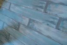 Eskitme Patina Mavi Yesil Laminat Parke