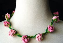 Crochet Necklace  Flowers
