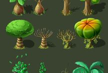 Cartoony vegetation / trees, vegetation, plants, flowers and rocks