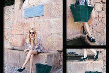 Complementos Verde Botella / La guapísima Ana posa para nosotros con zapatos de tacón supercómodos y maxibolso, ambos en piel de serraje verde botella y con pespuntes en beige. Nos encantan las Novedades Otoñales, y a ti??