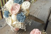 Dried flower wedding bouquets