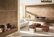 Marmur Klasyczny - inspiracje / Wnętrza w których na ścianach zastosowano efekt dekoracyjny Marmur Klasycznyi MAGNAT Style