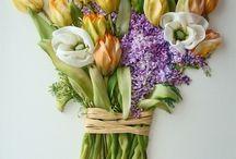 Kvety / vyšívané kvety stuhou